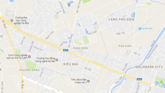 Vị trí Chung cư mini Phú Diễn nhìn từ Google Maps