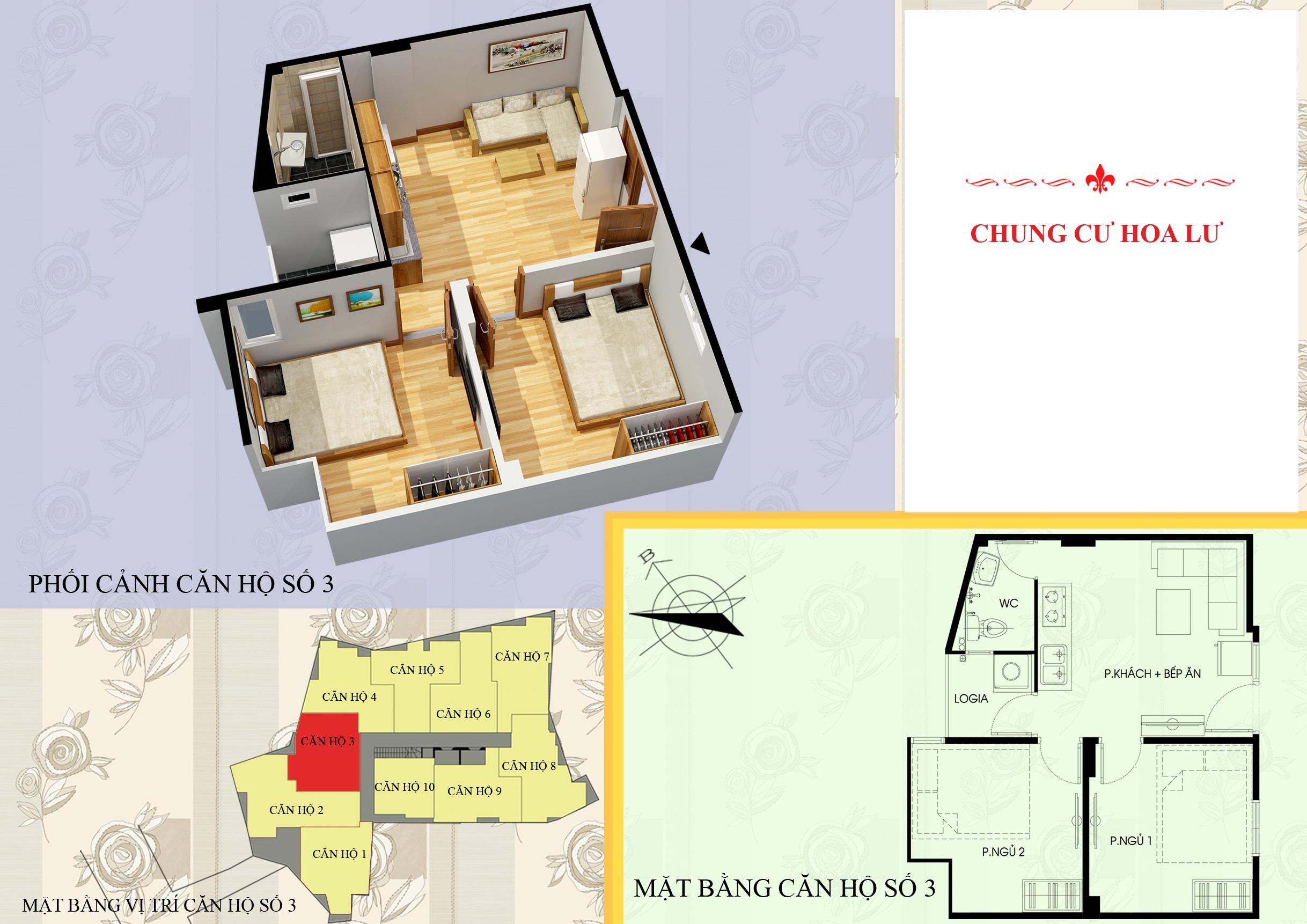 Mặt bằng căn 03 chung cư mini vân hồ