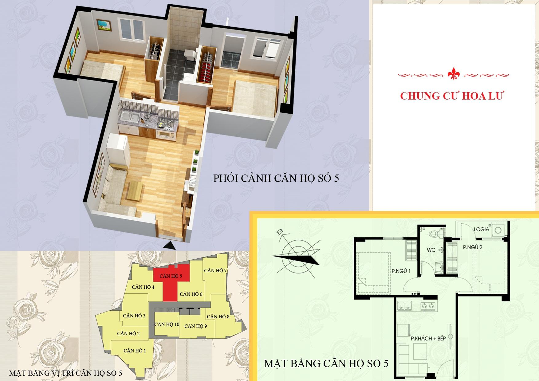 Mặt bằng căn 05 chung cư mini vân hồ
