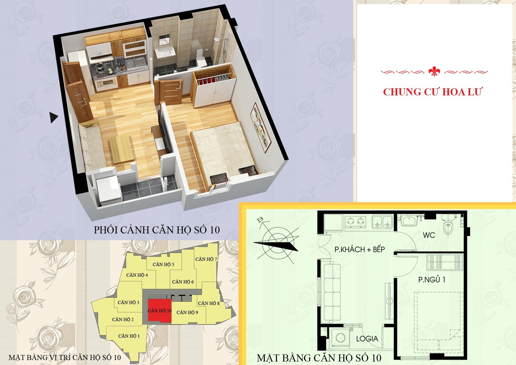 Mặt bằng căn 10 chung cư mini vân hồ