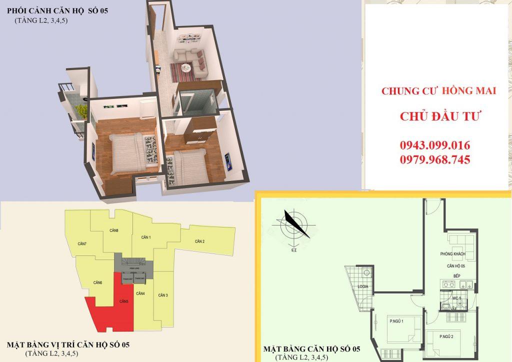 Thiết kế căn hộ 05 diện tích 48m2