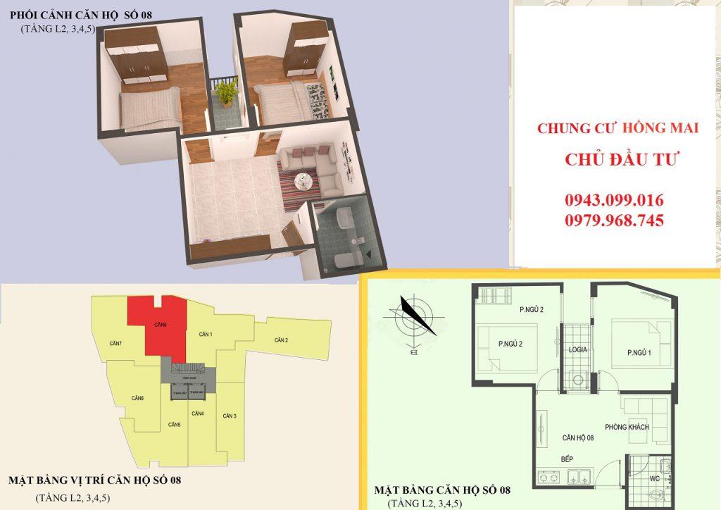 Thiết kế căn hộ 08 diện tích 45m2