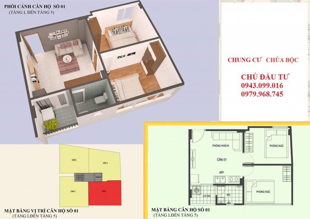 Thiết kế căn 01 diện tích 46m2
