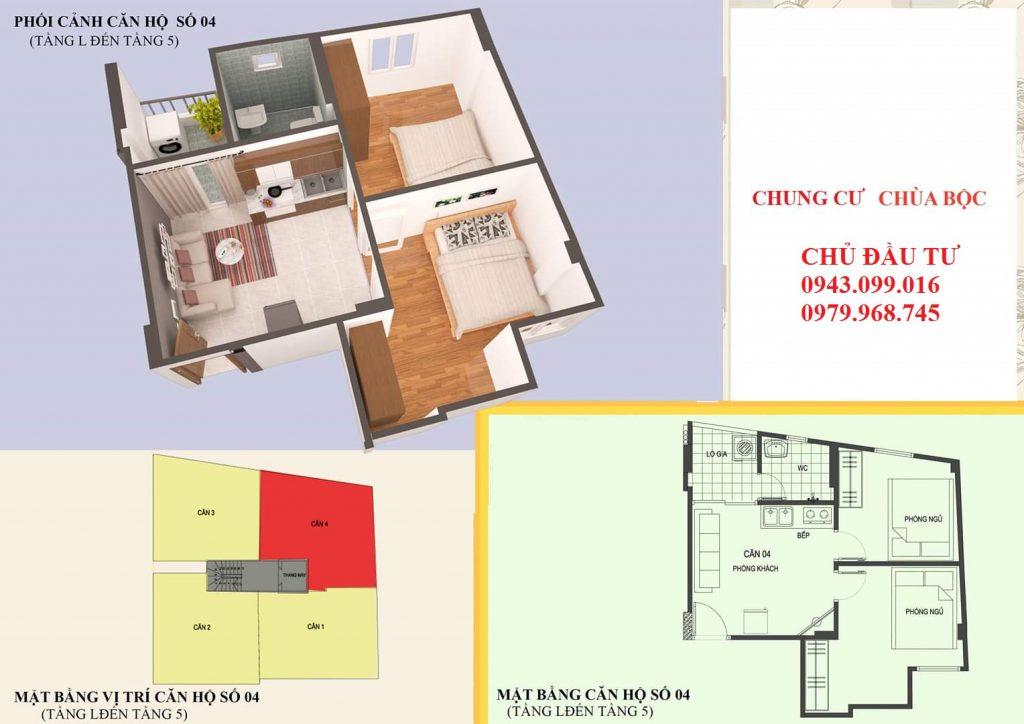 Căn 04: 46m2 Thiết kế 02 phòng ngủ